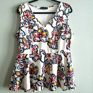 1X Fashion to Figure Floral Print Peplum Top